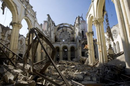 The remains of a catherdral in Port au Prince Haiti in the aftermath of the earthquake that hit Haiti on 12, January, 2010. Photo courtesy of United Nations Photo via Flickr.