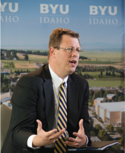 President Clark Gilbert during a recent press conference in which he addressed his new role as university president.