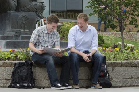 Students study outside the Manwaring Center