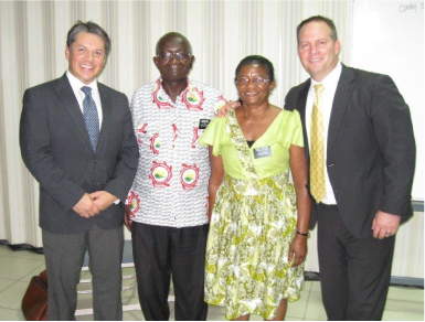 Gene Hayes (left) and Corey Christensen (right) with Elder and Sister Boateng, Pathway missionaries in Ghana.