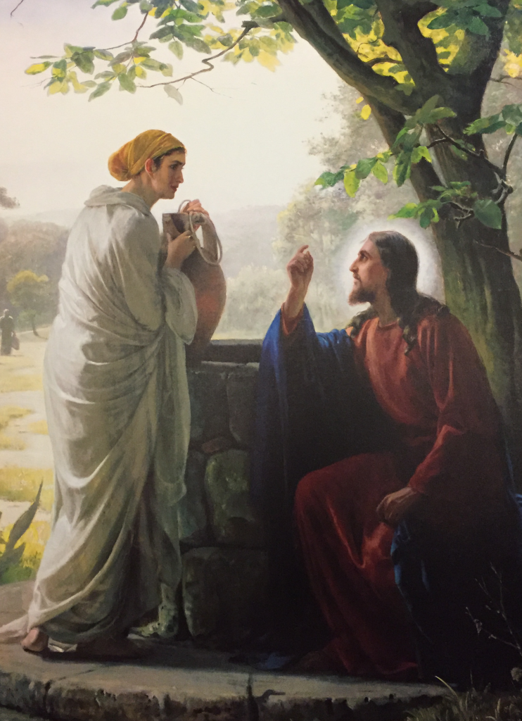 "The Savior, as pictured in ""Woman at the Well"" by Carl Bloch, provides a perfect example for his disciples to emulate."