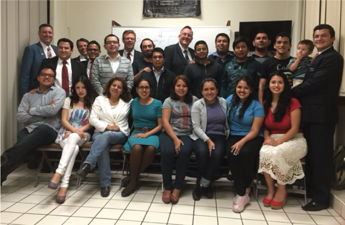 President Gilbert with two Pathway groups at the Mexico City Churubusco Pathway site.