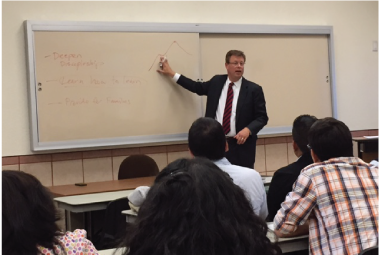 President Gilbert leading a discussion at the Mexico City Tepalcapa site.