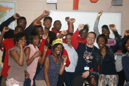 Steve Thomas and his students at Forest Hills High School.