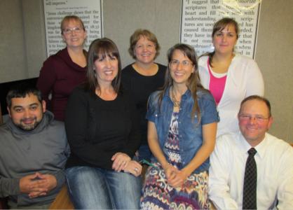 Back Row: Cheryl Noble, Kathy Adams, Farelyn Alvey Front Row: Juan Solares, Laura Rice, Dawnya Biggs, Scott Parkin