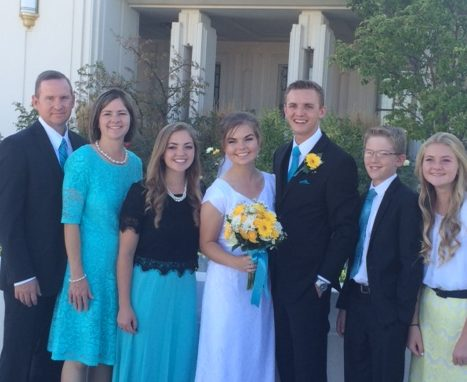 Shelly and her family at the Rexburg, Idaho temple in 2016 during her daughter's wedding.