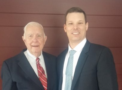 Brigham with his friend, Karl Anderson, who helped to bring Brigham's father into the gospel