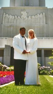 Alanna and James at the Oakland California Temple on the day on their wedding.