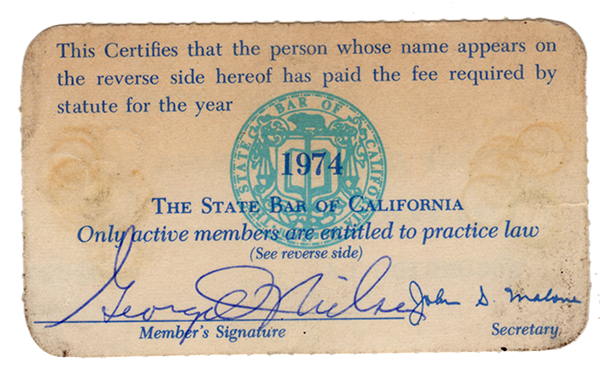Elder Nielsen's certification for being a member of the California State Bar in 1974.