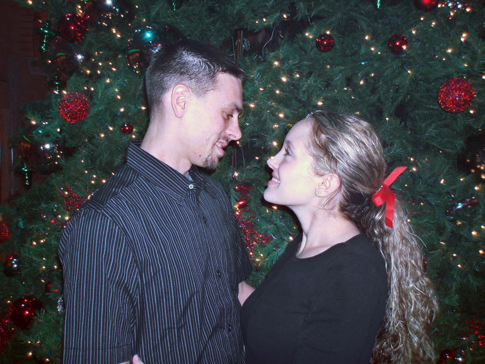 Janalie and Richard at a ward Christmas party