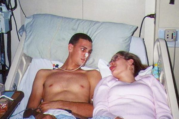 Janalie and Richard in the hospital soon after Richard had a tumor removed from his brain