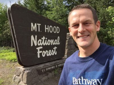 Joseph visiting Mt. Hood in Oregon.