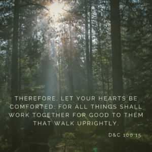 """""""Therefore, let your hearts be comforted; for all things shall work together for good to them that walk uprightly…"""""""